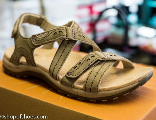 New Khaki leather summer sandal with modern strap over design